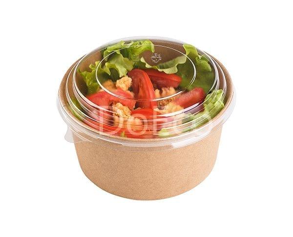 eco rcont doeco salad box 2 600x486 - Contenitore di cartone rotondo con coperchio trasparente