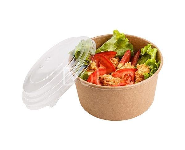 eco rcont doeco salad box 3 600x486 - Contenitore di cartone rotondo con coperchio trasparente