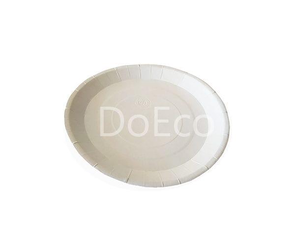 bio тарелка 600x486 - Одноразовые бумажные тарелки ECO PLATE 230 BIO белые